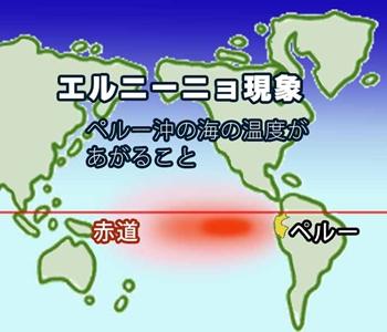エルニーニョ現象とはペルー沖の海の温度があがること