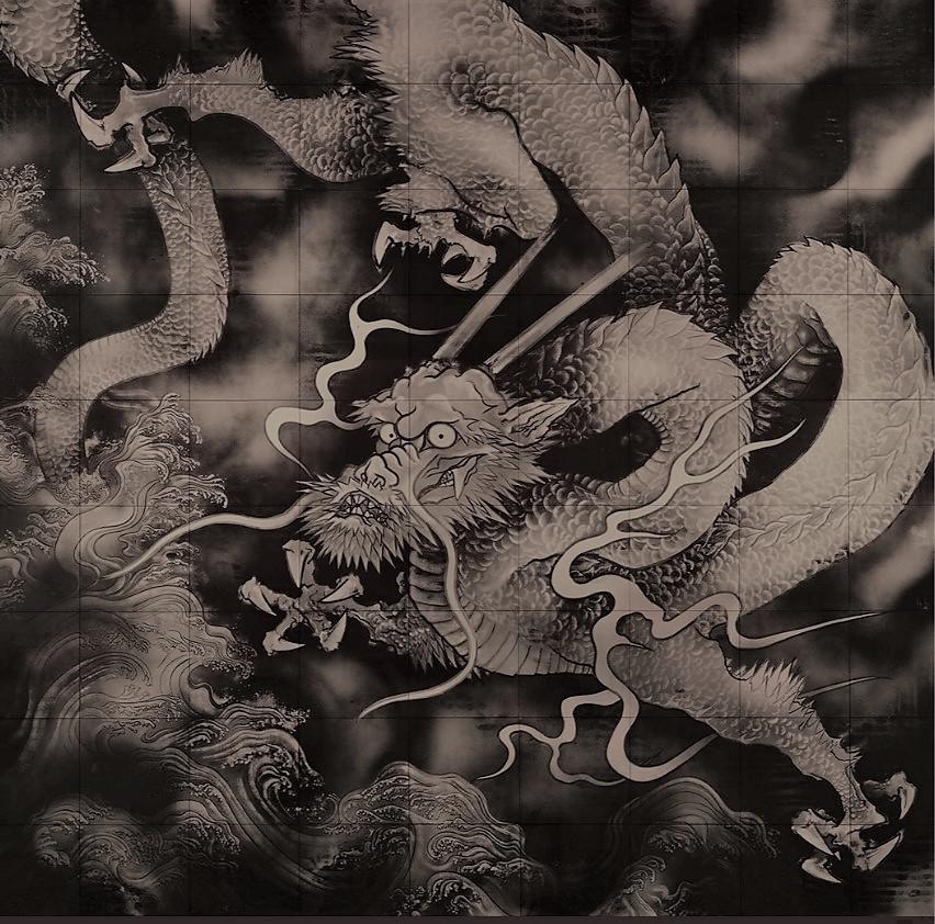 お寺の天井画の龍