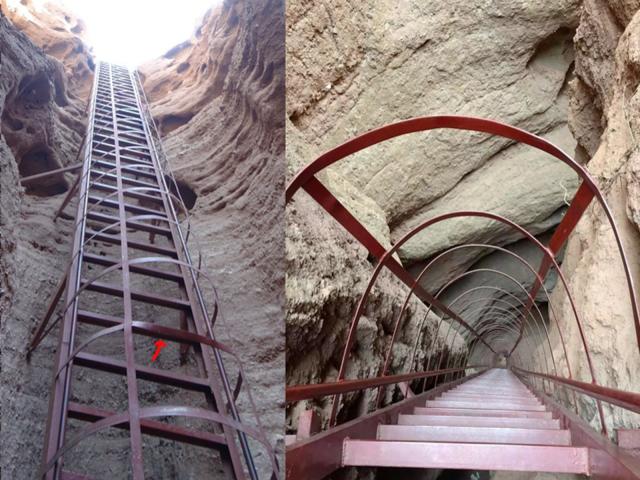 張掖丹霞地貌・平山湖大峡谷の傾斜85度の金属製の階段(はしご)